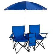 Picnic Double Folding Chair w Umbrella Table Cooler  Fold Up Beach Camping Chair Image 1 of 5