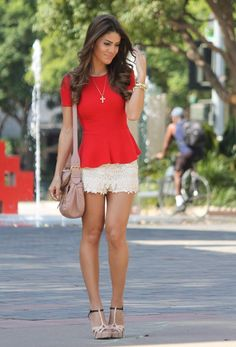 lace shorts + peplum top