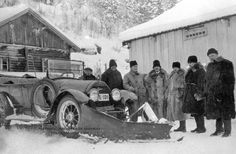 "CAR PLOW PART 2 In the early 1920s, Norwegian brothers Hans and Even Overaasen and New Yorker Carl Frink independently came up with designs for car-mounted snow plows. These were, apparenty the perfect solution to the modern snow problem, and the company Frink started is still producing plows today.  Cadillac with the photo captioned ""Experimenting with a snow plow on a car, Gausdal, January 12, 1926."""
