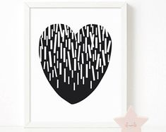 Heart confetti print, black & white print, heart nursery printable wall art, Scandinavian print, nursery decor, nursery art, kids poster