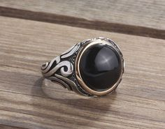 925K Sterling Silver Gemstone Men Ring With Natural Black Onyx Size 9-10-11 US #IstanbulJewellery #Statement