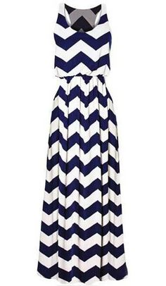 navy and white chevron maxi dress