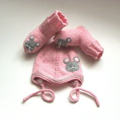 Pink baby hat with mouse knitted baby girl bonnet Made by Tuttolv