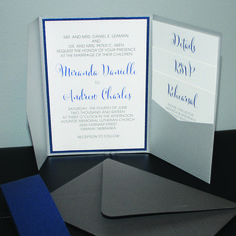 navy blue and silver pocket wedding invitation with thermography (raised ink)