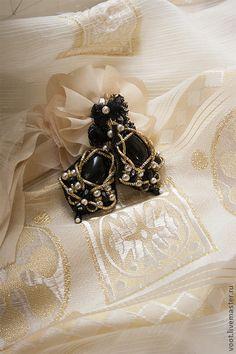 """Серьги """"Adele"""" - чёрный,золото,канитель,объемные серьги,серьги ручной работы"""