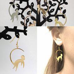 Gold Monkey Earrings