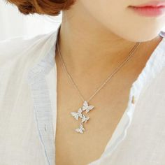 Delicate flutter of butterflies necklace is 925 sterling silver long zircon butterfly necklace please allow days for shipping Long Silver Necklace, Silver Pendant Necklace, Sterling Silver Necklaces, Pendant Jewelry, Silver Ring, Silver Earrings, Silver Bracelets, Diamond Pendant, Jewelry Necklaces