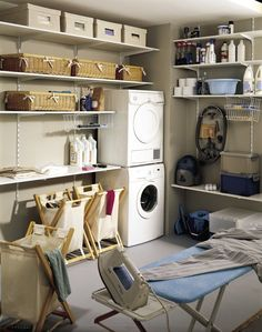 Basement laundry room - An uninspiring utility room changes right into a dreamy area in simply six weeks. Basement Laundry, Laundry Room, Ceiling Texture Types, Small Fireplace, Home Remodeling, Sweet Home, Home Appliances, Shelves, Storage