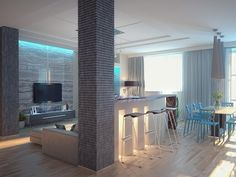 Кухня-гостиная с колоннами - Дизайн интерьера квартиры г. Тюмень ул. Пржевальского