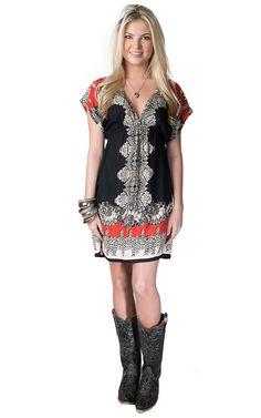 Angie Women's Black, Red and Cream Print Short Sleeve Kimono Dress