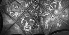 """Astrological frescos from the Roccabianca Castle, now in the Sforza Castle in Milan - Griselda's room - From the left: Pisces, Venus, Corona, Mars, Canis Minor, Canis Major, Luna, Taurus, Mercurius, Gemini, Caput Draconis, Luna, Cancer - """"The Astrological Vault of the Camera di Griselda from Roccabianca"""" by Kristen Lippincott"""