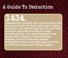 A Guide To Deduction. Also associated with drug use. Way to miss the obvious, Sherlock fandom. The Mentalist, Johnlock, Destiel, The More You Know, Good To Know, Writing Tips, Writing Prompts, Writing Help, Essay Writing