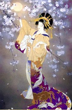 Woman and moon | Japanese Art | Haruyo Morita