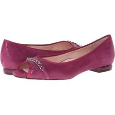 Taryn Rose Aci Women's Flat Shoes, Pink (160 CAD) ❤ liked on Polyvore featuring shoes, flats, pink, slipon shoes, pink leather flats, flat slip on shoes, open toe flat shoes and taryn rose shoes