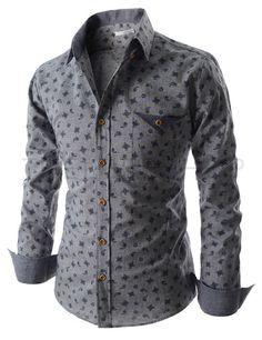 Slim Fit Button Down Chest Pocket Paisley Pattern Long Sleeve Shirts Denim Shirt Men, Mens Flannel Shirt, Stylish Shirts, Casual Shirts, Collar Shirts, Men's Shirts, Blue Suit Wedding, Mens Attire, Mens Clothing Styles