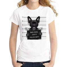 2016 Hot Sale Dog Police Dept Design Women T Shirt French Bulldog T-shirt Novelty Short Sleeve Tee Pug Printed Bad Dog Shirts Quality T Shirts, Trends, Shirt Price, T Shirts For Women, Clothes For Women, Couple Clothes, Dog Shirt, Spandex Material, Polyester Spandex