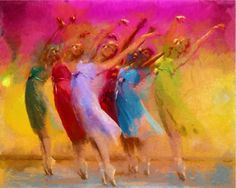 Ballerina Dancers Original Oil Painting Art Print