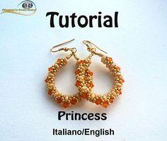 Princess Earrings  PDF Beading tutorial in Italian or in