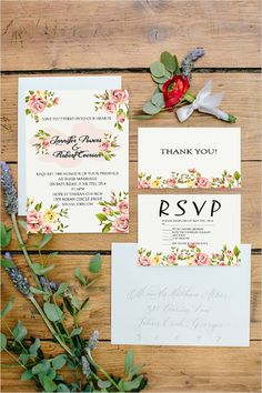 shabby chic floral vintage wedding invitations for spring weddings