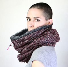 Snock® faux fur cowl scarf in mottled dark pink and by jaffic