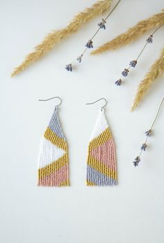 Excited to share this item from my shop: Pink gold earrings, Seed bead earrings, Geometric beaded earrings, Woven beads earrings, Mismatched earrings Beaded Earrings Patterns, Diy Earrings, Beading Patterns, Gold Earrings, Bracelet Patterns, Fringe Earrings, Seed Bead Patterns, Bead Earrings, Seed Beads