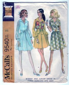e85d5ce0f449 Vintage 1968 McCall s 9540 Sewing Pattern Misses  and Junior s Dress in  Three Versions and Vest