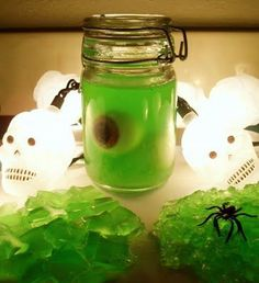YOU WILL NEED     3/4 cup water    1 packet powdered gelatin    1/2 cup of liquid soap (use a liquid soap base since it's unscented and uncolored)    liquid colorant ( green )    fragrance oil    1 teaspoon table salt    cups, jar, or a glass pan    spooky eyeballs or other creepy objects (optional)    THEN YOU DO THE FOLLOWING     1.Place the gelatin powder in a bowl. Meanwhile, bring the water to a boil. Stir water into gelatin until powder is dissolved.    2.Stir in liquid soap.    3. Add colorant.  Now add a few drops of fragrance oil.    4) Stir in the salt until dissolved. Put creepy objects into cups or jar and pour in soap (it is lukewarm at this point). Or you can pour soap into a glass pan.    5) Put soap into fridge for several hours or overnight. It's fun to cut it up into cubes and scoop out, which become single use soaps. Or you can use a fork and shred it into wormy noodles and pile up in a bowl. The eyeballs made the bottom of the slime a little white but it adds to it's grossness!