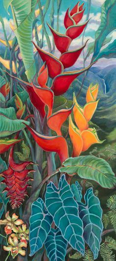 Gorgeous painting by Anna Fuernsteiner of Heliconias (Tropical Flowers) Tropical Plants, Tropical Flowers, Exotic Flowers, Purple Flowers, Watercolor Flowers, Watercolor Paintings, Arte Pallet, Hawaiian Art, Plant Drawing