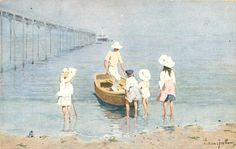 four children watch man in small boat come into the beach