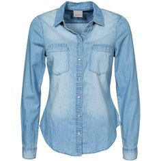 Vero Moda Vmmatilde Ls Denim Shirt Light Blue ($36) ❤ liked on Polyvore featuring tops, blouses, shirts, blouses & shirts, light blue, womens-fashion, blue top, vero moda, denim blouse and denim shirt