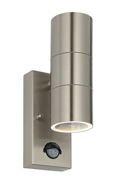 Budget stainless steel Up & Down wall light with PIR.