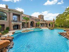 Luxury Homes Dream Houses, Luxury Homes Interior, Luxury Home Decor, Big Pools, Swimming Pools, Dream Mansion, Stucco Homes, Luxury Pools, Dream Pools