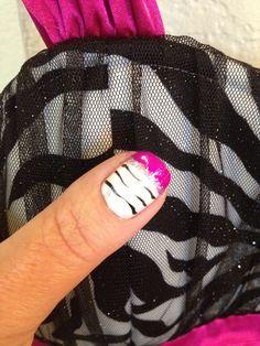 Hot Fushia Zebra Striped French Manicure Nail Art