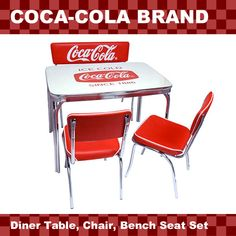 lavieen: American diner COCA-COLA BRAND Coca-Cola brand diner table, chair, four points of set West Coast style interior American miscellaneous goods of the bench sheet Coca Cola Life, Coca Cola Brands, Coca Cola Decor, Diner Table, Coca Cola Kitchen, Cola Cake, Miscellaneous Goods, Always Coca Cola, American Diner