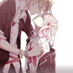 Diabolik Lovers. I think it is Shu with her... But he doesn't have his earphones on....