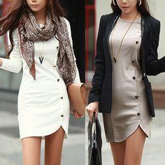 Fashion O Neck Long Sleeves Buckles Designed Asymmetrical Grey Sheath Mini Dress