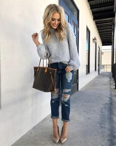 This is the first time I've worn boyfriend jeans and omg I loveee them! So freakin comfy! Also, in case you missed it, we're giving away a Louis Vuitton neverfull (details 2 posts back)!! http://liketk.it/2u6Ct #liketkit @liketoknow.it #LTKunder100