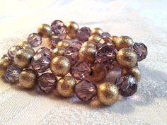 Art Deco Faceted Amethyst Crystal and Gold Ball Bead Necklace. Gorgeous!! by GothiqueGirl on Etsy