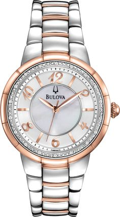 Watch Of The Day - The Bulova 98R162 Women's Rosedale Diamond Accented Bezel MOP Dial Two Tone Steel Watch