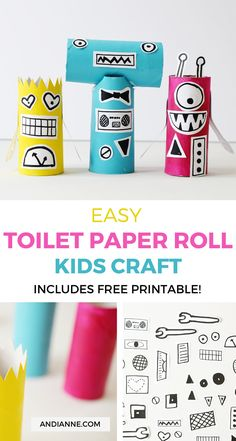 robot crafts for kids Easy Robot Craft For Kids Andianne Toilet Roll Craft, Toilet Paper Roll Crafts, Paper Crafts, Cute Crafts, Easy Crafts, Arts And Crafts, Kid Crafts, Crafts For Kids To Make, Art For Kids