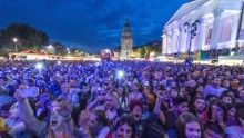 Festival-goers at the Schlossgrabenfest music festival near Darmstadt, Germany, where a spate of sexual assaults were reported.