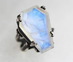 Easeful Death. Large Moonstone Coffin Ring. – Blood Milk Jewels