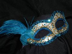 Masquerade Mask in Shades of Turquoise and by TheCraftyChemist07,