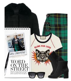 """""""NYFW '17: StreetStyle"""" by hollowpoint-smile ❤ liked on Polyvore featuring Gucci, Moncler Gamme Rouge, Sharpie, CÉLINE and Gianvito Rossi"""