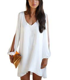 SMITHROAD Damen Chiffon Kleid Sommerkleid Blusenshirt V-Ausschnitt Loose Fit A Linie Knielang Einfarbig Weiß Gr.46