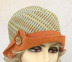 Hat Womens Cloche Couture in Geometric Print and Suede by buygail, $125.00