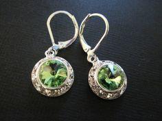 Peridot Green Swarovski Crystal Drop Earings/ Bridal Jewelry/ Bridesmaid Earings/ Green Crystal Earings