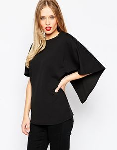 ASOS Crepe Open Back Top With Ruffle Detail