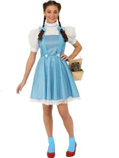 Description Be off to see the Wizard in this classic Dorothy Costume from the Wizard of Oz! Our Wizard of Oz Dorothy Costume features Dorothy's signature blue and white gingham dress with white lace trim. Includes: Dress and Hair bows Size: STD Wizard Of Oz Dorothy Costume, Dorothy Halloween Costume, Halloween Dress, Wizard Oz, Adult Halloween, Spirit Halloween, Halloween Party, Wizard Costume, Trendy Halloween