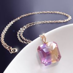 14k natural untreated ametrine gemstone by BijouxOdalisque on Etsy